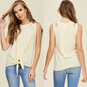 GABRIELLA Cut Out Tank Top - YELLOW